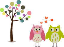 Owls are in love. Pink Sweetie owl falling in love with nice green yellow owl under the colorful tree Royalty Free Stock Photos