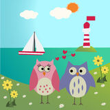 Owls in love on the sea Royalty Free Stock Image