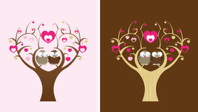Owls in a love tree. 2 owls sit in a love tree, 2 colour options royalty free illustration