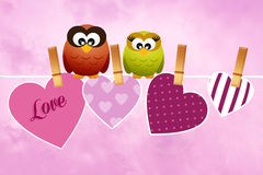 Owls in love Royalty Free Stock Photos