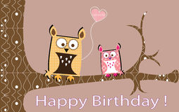 Owls lovely card Royalty Free Stock Images