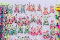Owls made of jute, wall hangings - handicrafts on display Royalty Free Stock Photography