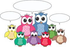 Owls with a message Stock Photo