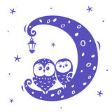 Owls on the moon Royalty Free Stock Photos