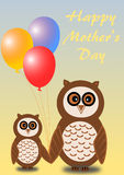 2 owls, mother and child, with mothers day greetings in English Royalty Free Stock Photography