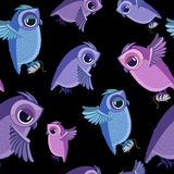 Owls with mouses seamless pattern Stock Image