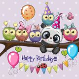 Owls and Panda on a branch with balloon and bonnets. Five Owls and Panda on a branch with balloon and bonnets