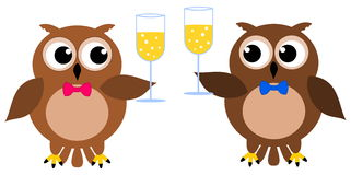 2 owls at a party with champagne glass. Illustration Royalty Free Illustration