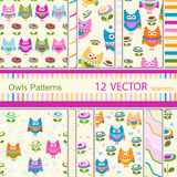 Owls patterns. 12  owls seamless patterns Stock Photo