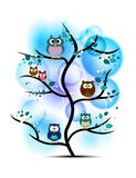 Owls perched on a tree Stock Photo