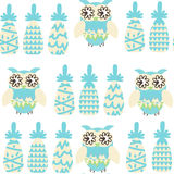 Owls and pineapples  fantasy colorful seamless pattern. It is lo Stock Image