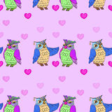 Owls on pink seamless Royalty Free Stock Image