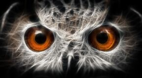 Free Owls Portrait. Owl Eyes - Abstract Painting, Fractal Stock Photography - 170521552