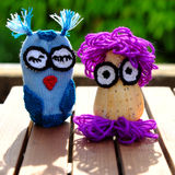 Owls puppet, diy owl conch shell Royalty Free Stock Images