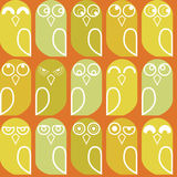 Owls seamless. Colorful pattern with cute owls Stock Photography