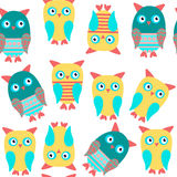 Owls seamless kids pattern and seamless pattern in swatch menu,. Vector  illustration Royalty Free Stock Images