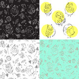 Owls seamless pattern. Black and wicht Royalty Free Stock Photography