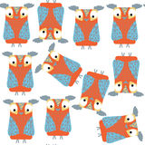 Owls  seamless pattern. It is located in swatch menu,  ima. Ge. Cute design, vector illustration Stock Photos