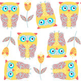 Owls seamless pattern. It is located in swatch menu,  imag. E. Cute illustration for design. Funny picture, vector Royalty Free Stock Image