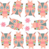 Owls seamless pattern. It is located in swatch menu,  Stock Images