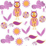Owls seamless pattern. It is located in swatch menu,  llus Royalty Free Stock Photography
