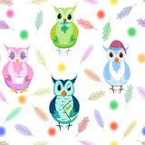 Owls seamless pattern on white background. Colorful backdrop with adorable owlets in different poses. Modern flat vector stock illustration