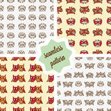Owls seamless patterns set Stock Photo