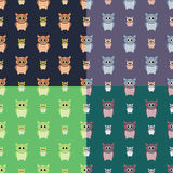 Owls seamless patterns set Stock Photos