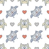 Owls seamless Stock Images