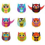 Owls set Stock Image