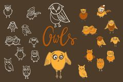 Owls set. Doodle hand drawn Royalty Free Stock Photography