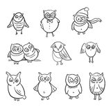 Owls set. Doodle hand drawn Royalty Free Stock Photos