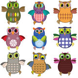 Owls set Royalty Free Stock Photography