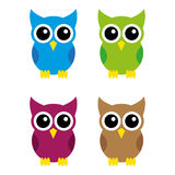 Owls. A set of owl illustrations Royalty Free Stock Photo