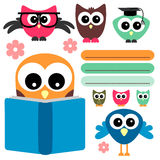 Owls set school theme Royalty Free Stock Photos