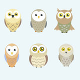 Owls set Royalty Free Stock Photos