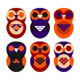 Owls set Royalty Free Stock Photos