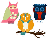 Owls. Set of three owls in different colors Royalty Free Stock Images