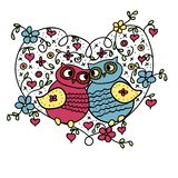 Owls, he and she sit in the heart. Vector drawing stock illustration