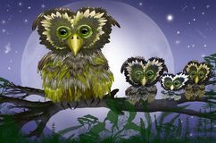 Owls sitting upon a tree branch. Happy owls family sitting on a tree branch royalty free illustration