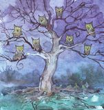 Owls sitting on tree in a dark forest. Watercolor illustration vector illustration