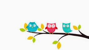 Owls sitting in the tree. Illustration for kids, babies, toddlers. Printable. Kids room royalty free illustration
