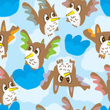 Owls Sky Seamless Pattern Royalty Free Stock Photos