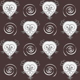 Owls and spirals. A background with owls and spirals stock illustration