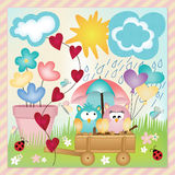 Owls in spring rain layout Stock Photo