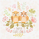 Owls super cute Royalty Free Stock Photography