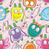 Owls Things Seamless Pattern_eps Stock Photos