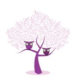 Owls in a Tree. Whimsical owls sitting  in a tree flowers for eyes Royalty Free Stock Image