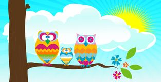 Owls in a tree ! Royalty Free Stock Image