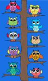 Owls in a tree. Lot of colorful owls sitting in a tree stock illustration